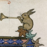 królik gra na trąbce